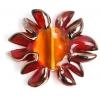 Glass Lamp Bead 27/33mm Flower Red/Orange Centre/Bronze